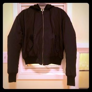 Black bomber jacket with removable hood